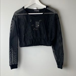 LF BSBW mesh hooded top black size extra small